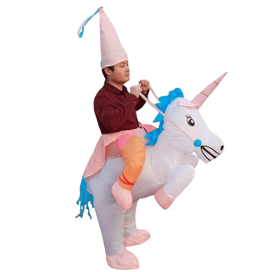 Inflatable Unicorn Costume for Adults Kids Rider Halloween Cosplay Party Dresses