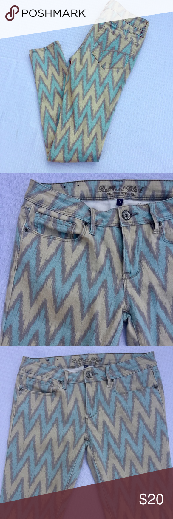 Pastel Colored Chevron Print Skinny Jeans Wear these low rise skinnies with a long knit sweater and tan suede booties. Size 5, runs small. Bullhead Black CA. Trading Co. Jeans Skinny