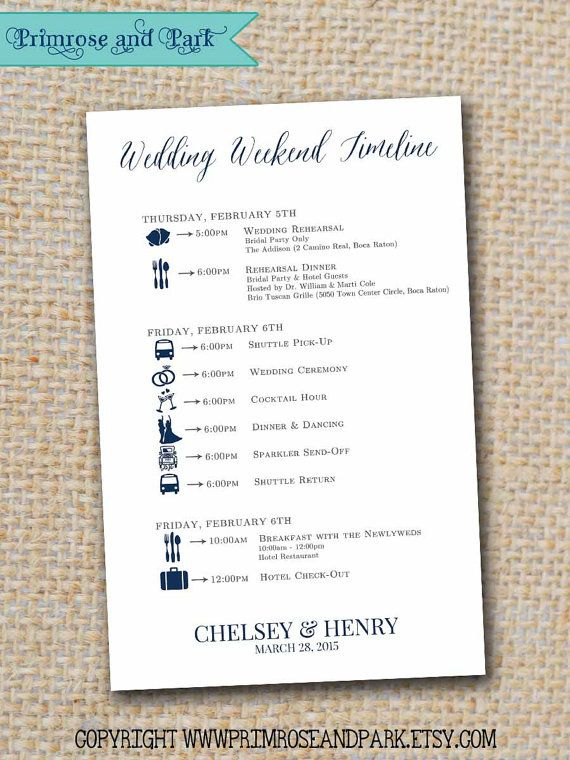 Wedding Timeline Printable    Wedding Weekend by PrimroseAndPark - guest check template