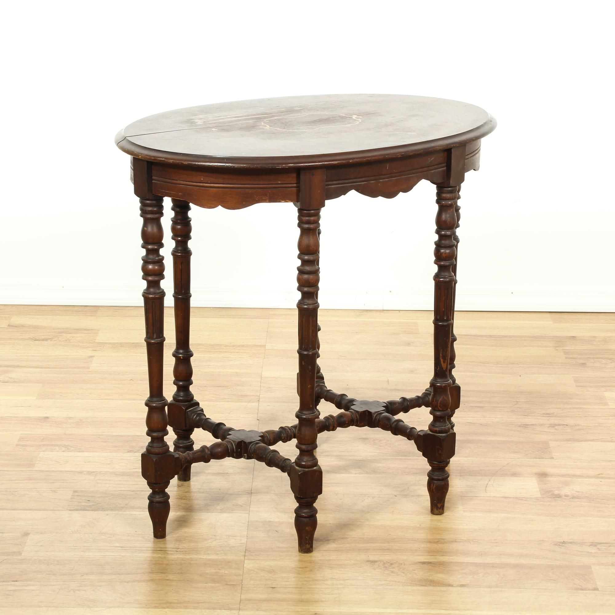 This Tall Side Table Is Featured In A Solid Wood With A Glossy Cherry  Finish. This End Table Has An Oval Table Top, Curved Base Trim And Ornate  Carved ...