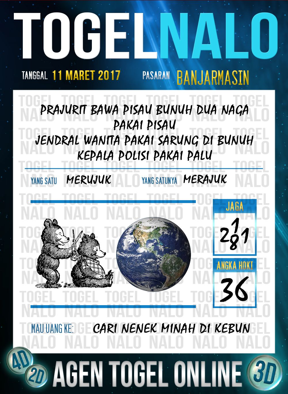 Bocoran 4D Togel Wap Online TogelNalo Banjarmasin 11 Maret