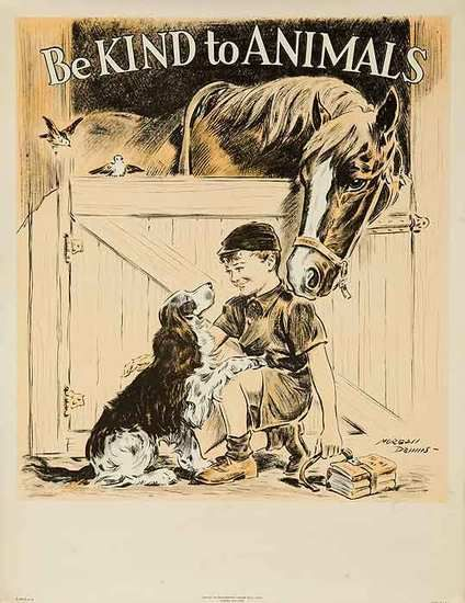 Vintage Be Kind to Animals Poster