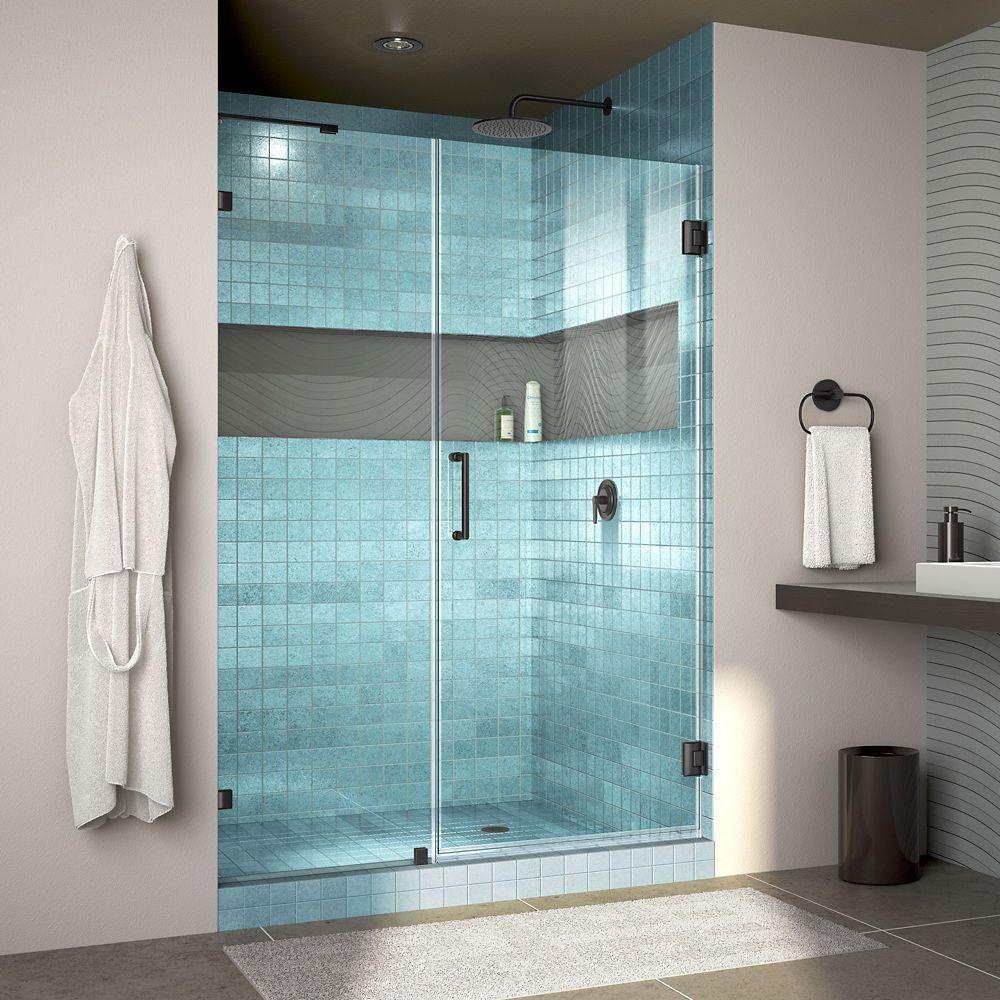 Unidoor Lux 46 Inch W X 72 Inch H Fully Frameless Shower Door With