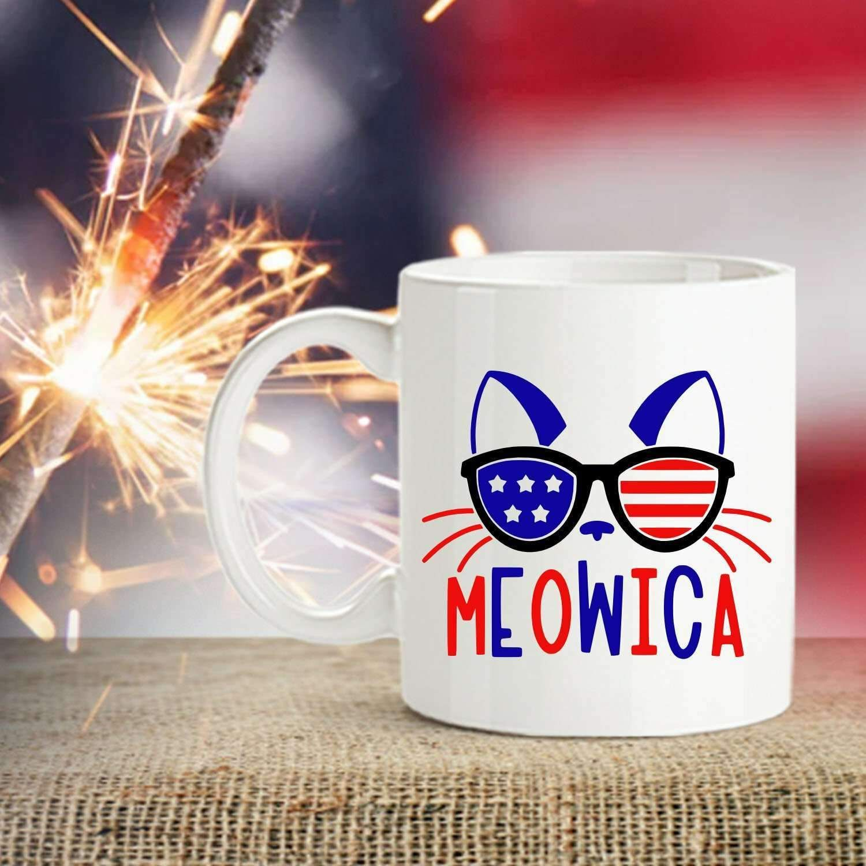 Special 4th of July Meowica coffee mug  #design #art #birthday #designtimegnc #gift #gifting #giftideas #handmade #giftguide #gifts