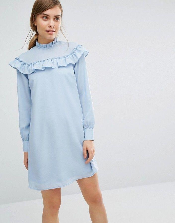 Vero Moda High Neck Ruffle Mini Dress Mini Dress Blue Dress Short Colourful Outfits