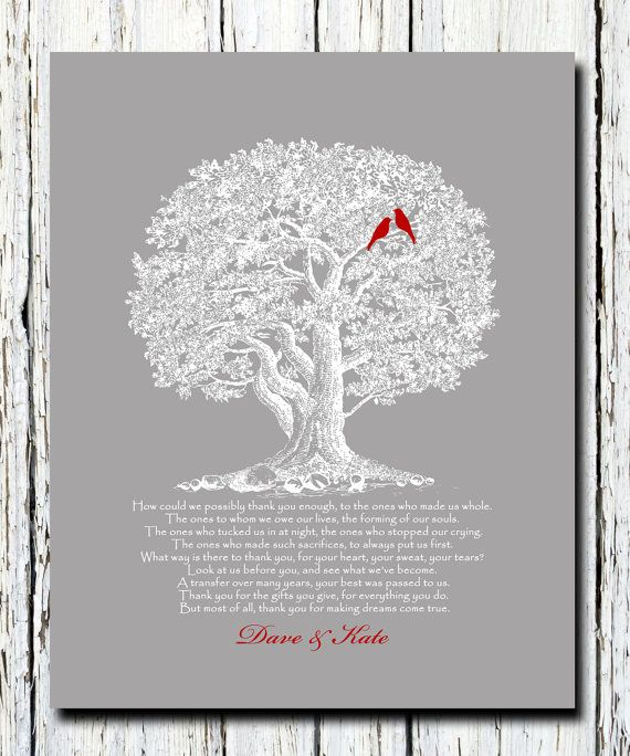 Thank You Gift Parents Father Mother Of Bride And Groom Wedding Personalized Print Custom Colors Poster 8 X 10
