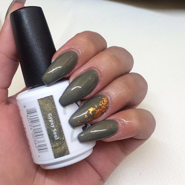 Love This Combo Olive Green And Gold Nails Nsi Polish Pro