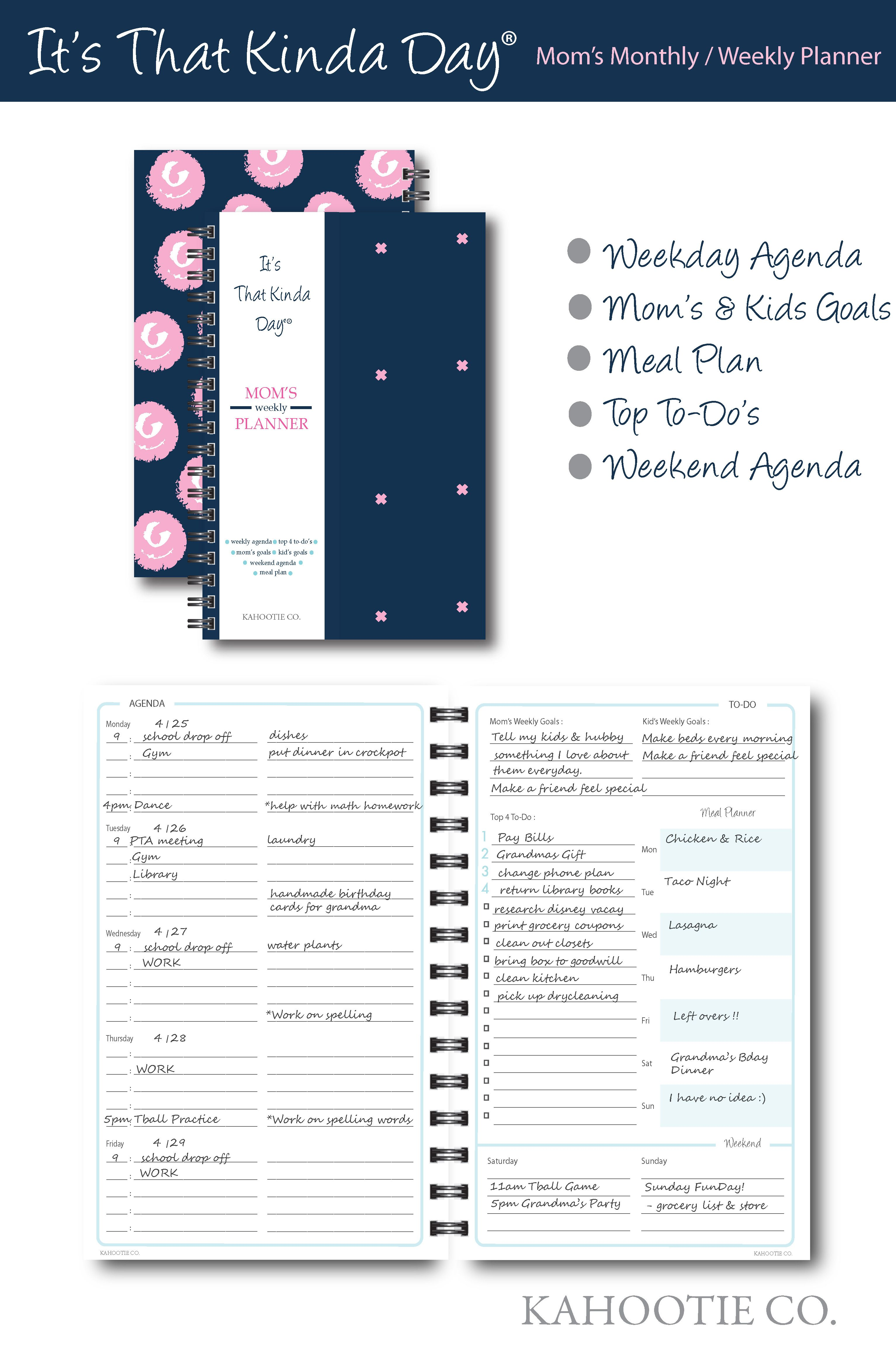 Kahootie Co It S That Kinda Day Mom S Weekly Planner 6 X 9 Navy Itkmn At Staples Weekly Planner Mom Planner Planner