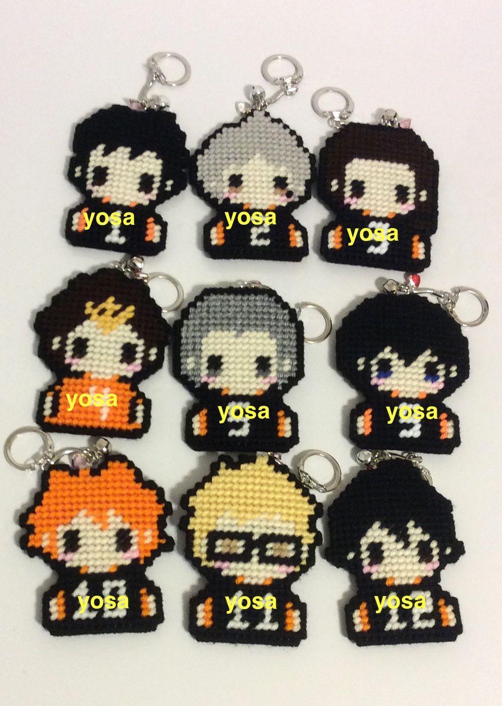 Haikyuu Karasuno Volleyball Team Chibi Cross Stitch Single Character Purse Dangle Or Keychain Charm Via Yosa Chan Cross Stitch Cross Stitch Patterns Stitch