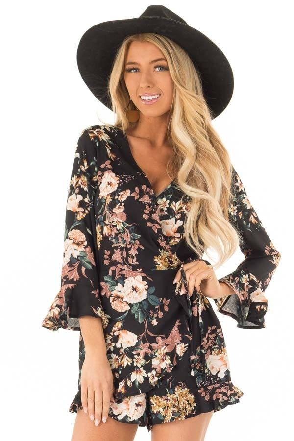 34e14a83d92 Black Floral Print Romper with 3 4 Ruffle Sleeves front close up