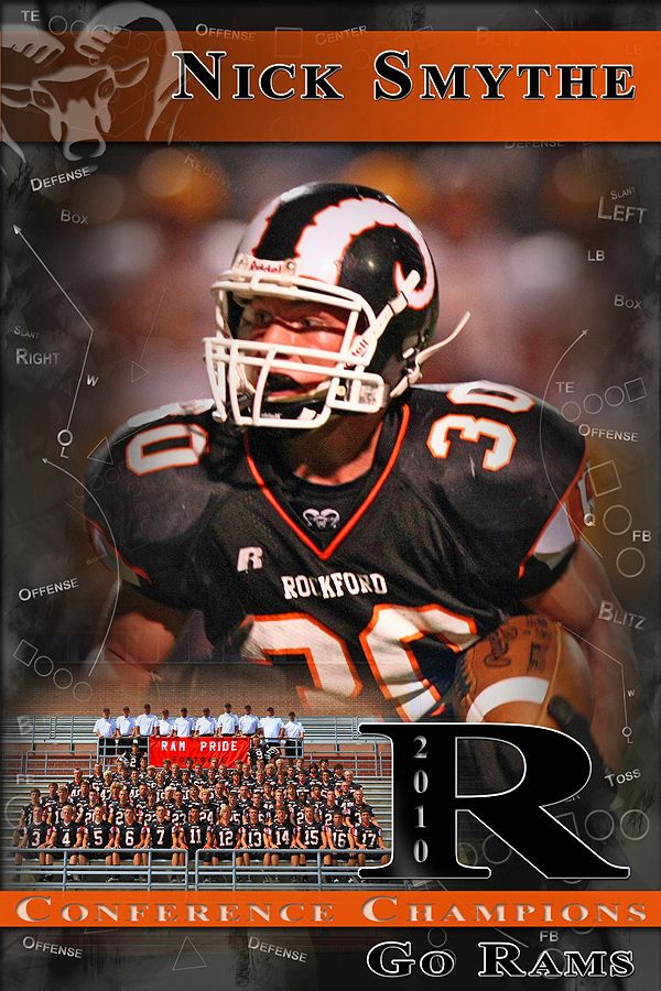high school football program template - pm pro football poster template with mascot and team photo