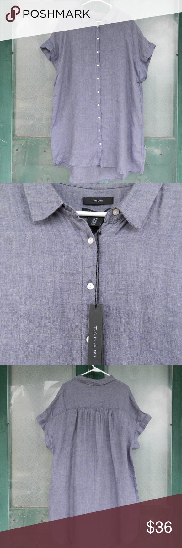74d3b2e85c Tahari Linen Shirt Dress NWT Short-sleeves - button front Medium Blue Gray  100% Linen New with tags 1X  bust 54