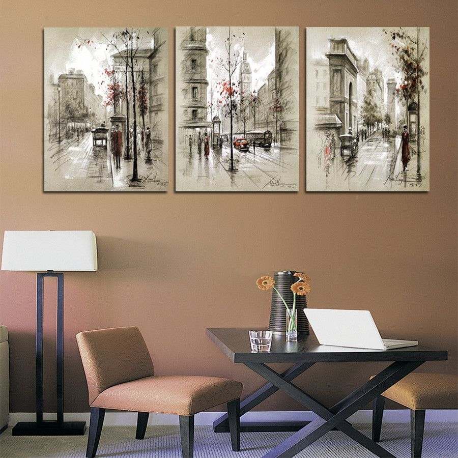 Home Decor Canvas Painting Abstract City Street Landscape Decorative Paintings Modern Wall Pictures 3 Panel W 3 Panel Wall Art Cheap Wall Art Wall Art Pictures