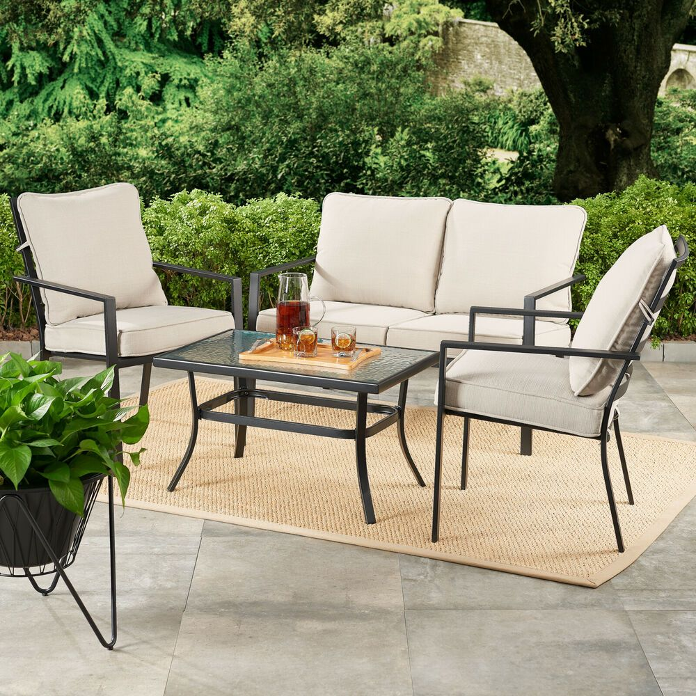 4 Piece Outdoor Patio Set Loveseat Furniture Chair With Gray