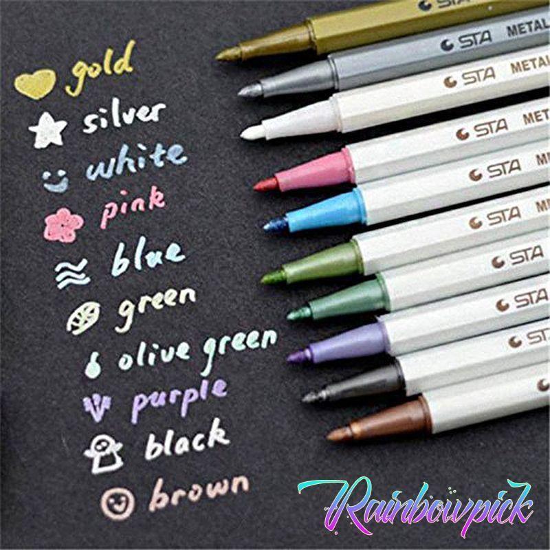 Sta Metallic Markers 10 Vibrant Colors Stylos En Gel Des