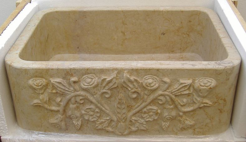 Etonnant Rosaliau0027 ~ Stone Farmhouse Sink With Hand Carved Front Apron  Treasuresdeoldmexico.com
