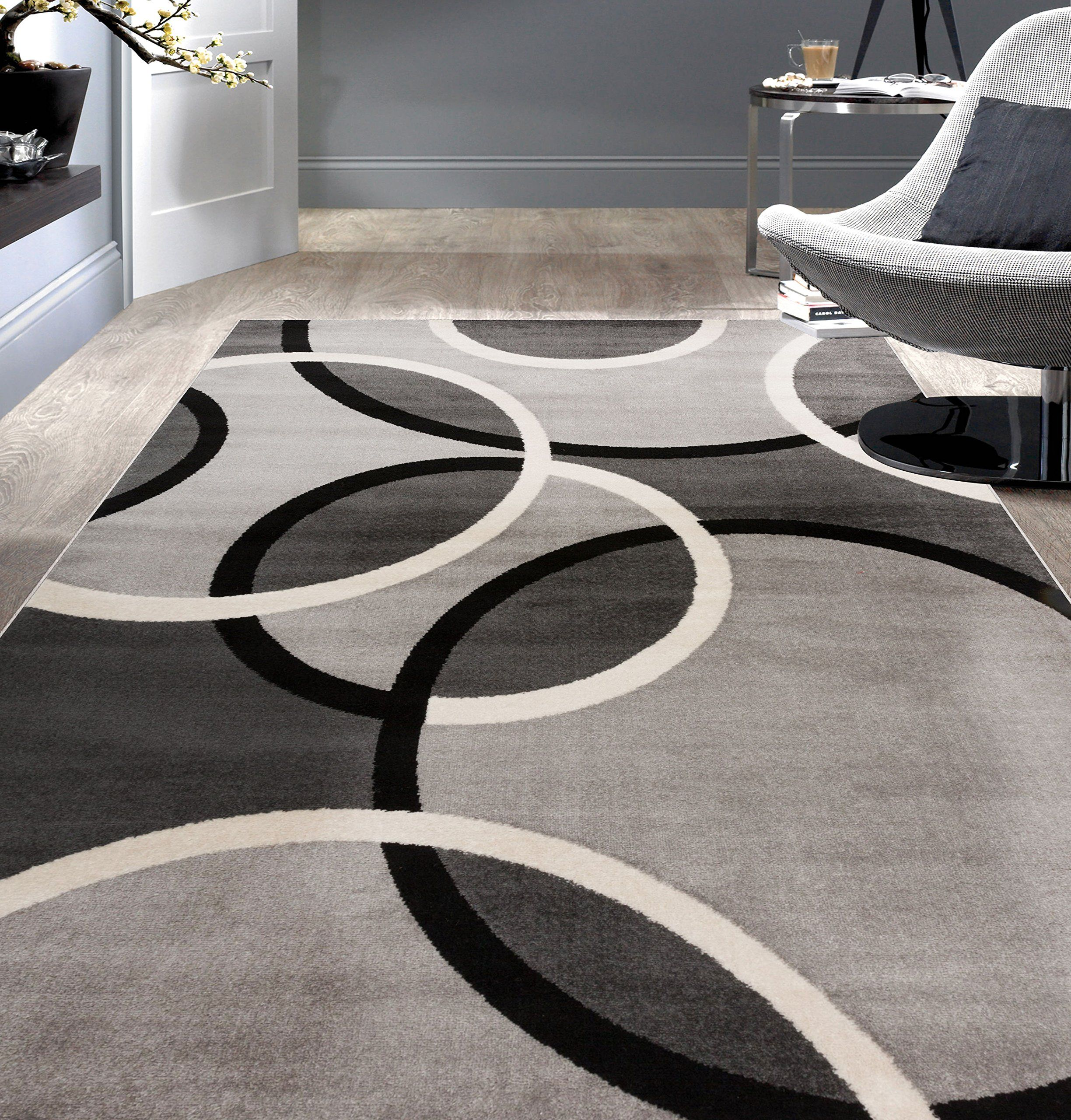 Rugshop Contemporary Abstract Circles Area Rug 5 3 X 7 3 Gray Affiliate Rugs Area Rugs Area Rugs For Sale Grey Area Rug