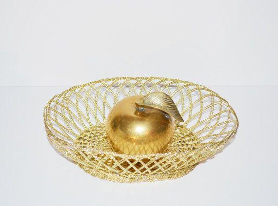 Vintage Gold Basket Decorative Gold Metal Basket by JudysJunktion, $24.95