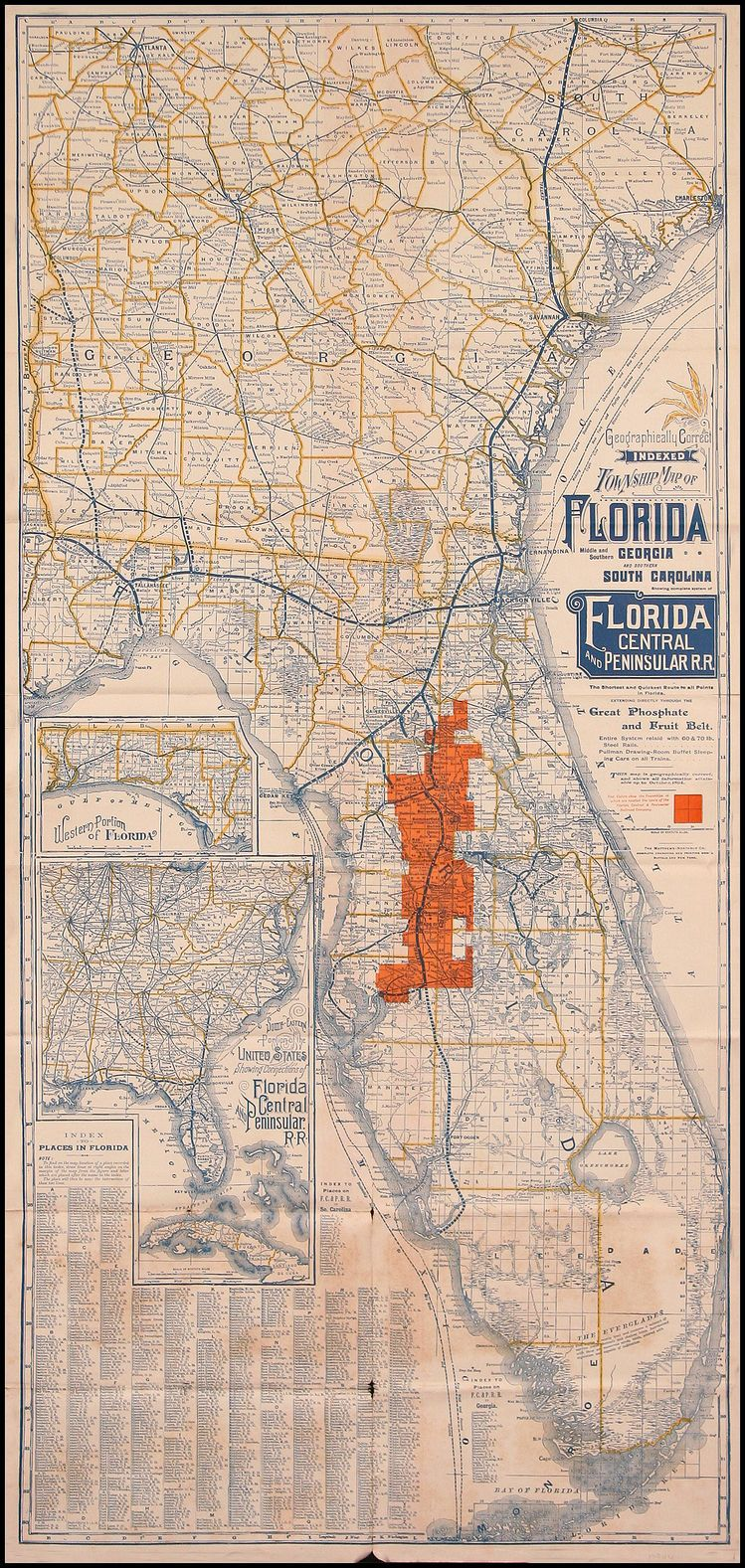 Complete Map Of Florida.Geographically Correct Indexed Township Map Of Florida Middle And