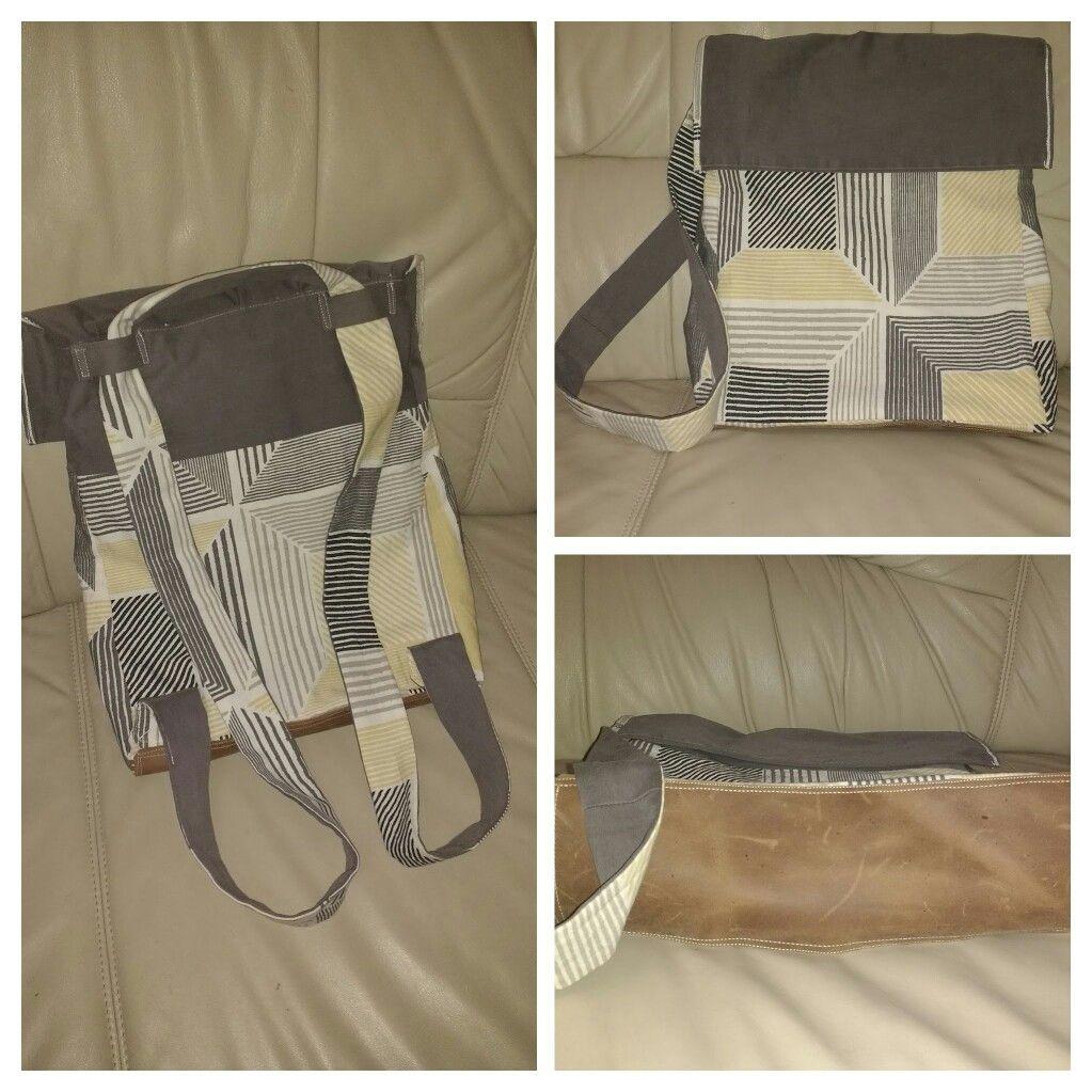 Wahlweise Rucksack oder Tasche. Mit Deckel und Innenfach. Eigenes Design :) Stoffe: IKEA, alte Jeans von Zara, Lederreste von Waldviertler