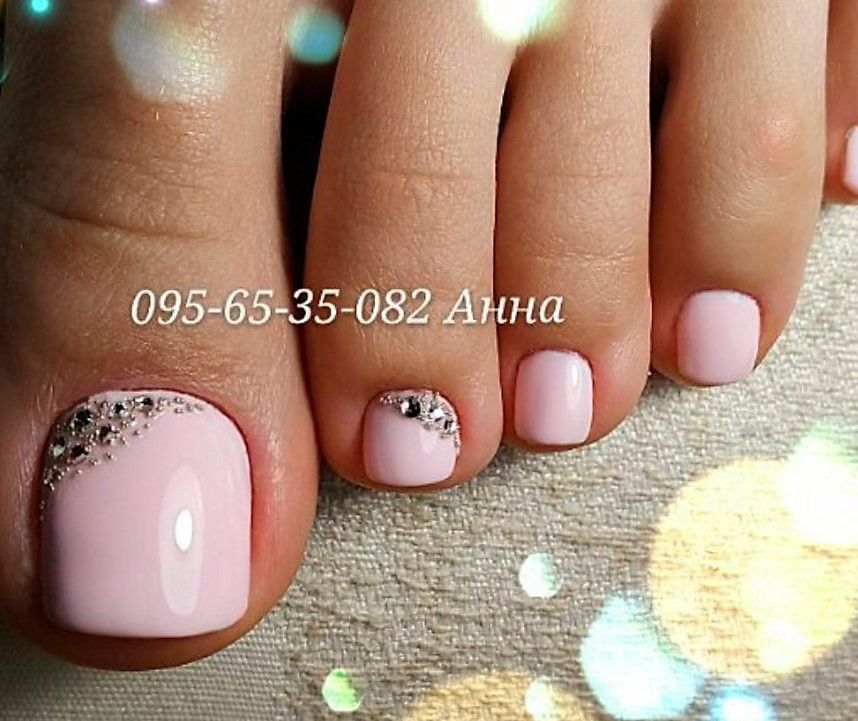 Pink Rhinestone Toe Nail Art Http Miascollection Pedicure