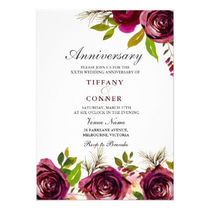 Burgundy Floral Wedding Anniversary Invitation  Wedding