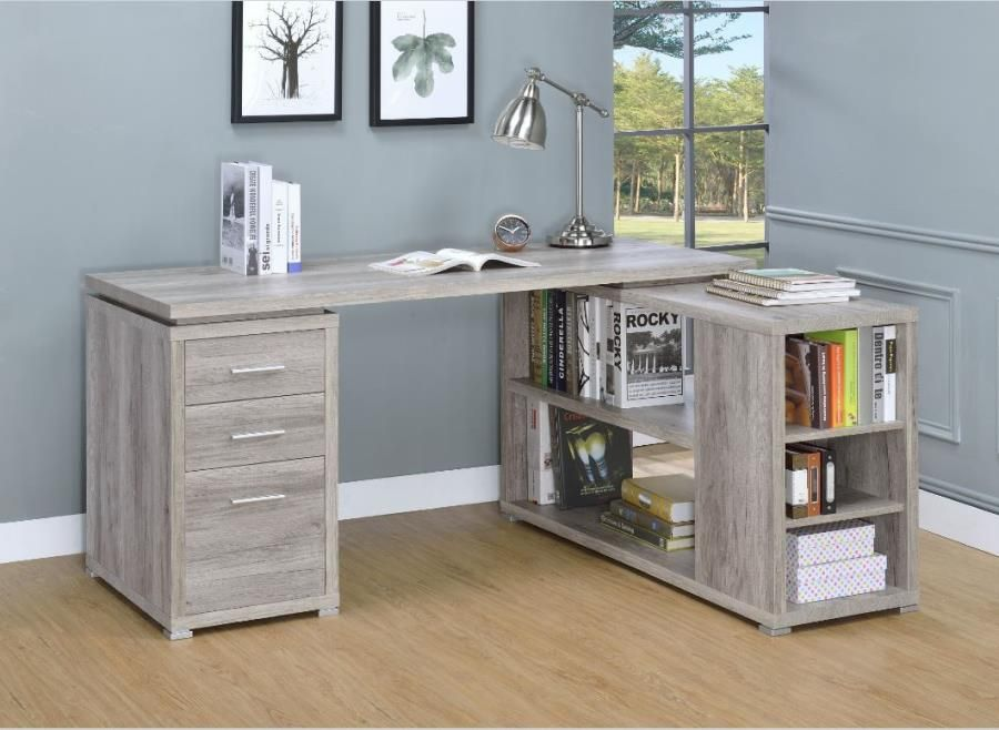 Yvette Collection 801516 L Shaped Grey Driftwood Office Desk Grey Desk Office Desk L Shaped Executive Desk