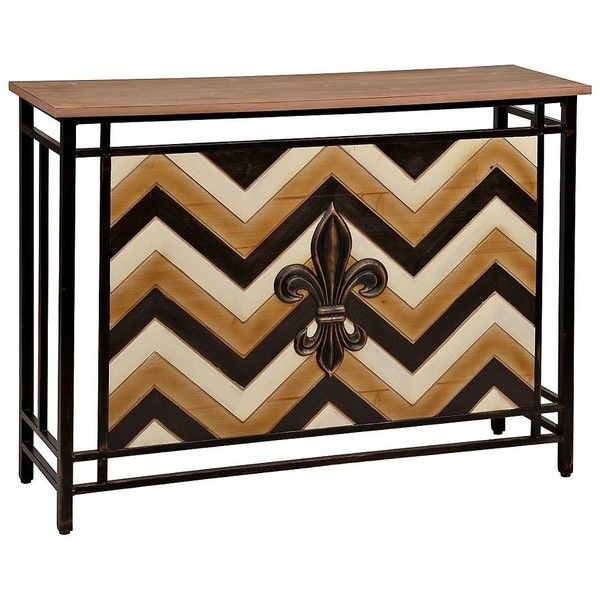 Fleur De Lis Chevron Console Table Featuring Polyvore, Home, Furniture,  Tables, Accent Tables, Fleur De Lis Table, Wood Plank Table, Patchwork  Furniture, ...