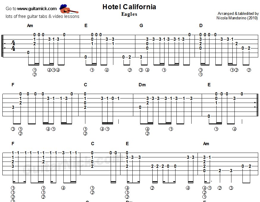 Hotel California Guitar Hotel California Fingerstyle Acoustic