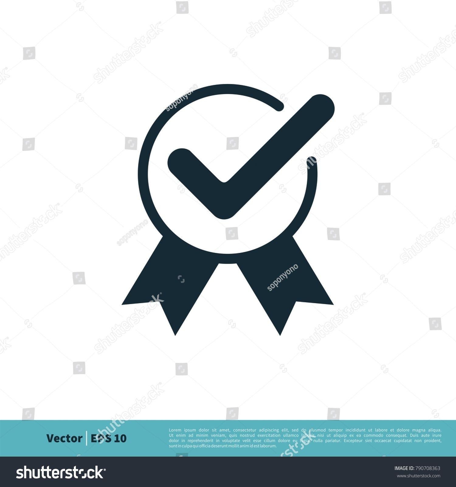 Rosette Ribbon, Check Mark Icon Vector Logo Template