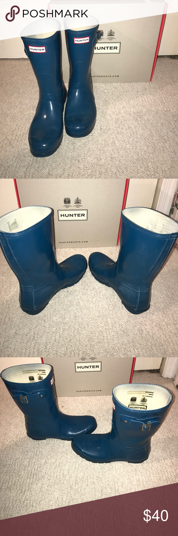 HUNTER boots, Size 8 Blue medium height, well-loved, some black tar specks on them from working outside. Some wear on inner liner. Left boot has some liner breaking apart (see last pic) Originally $110, comes from a smoke-free home :) Hunter Boots Shoes Winter & Rain Boots