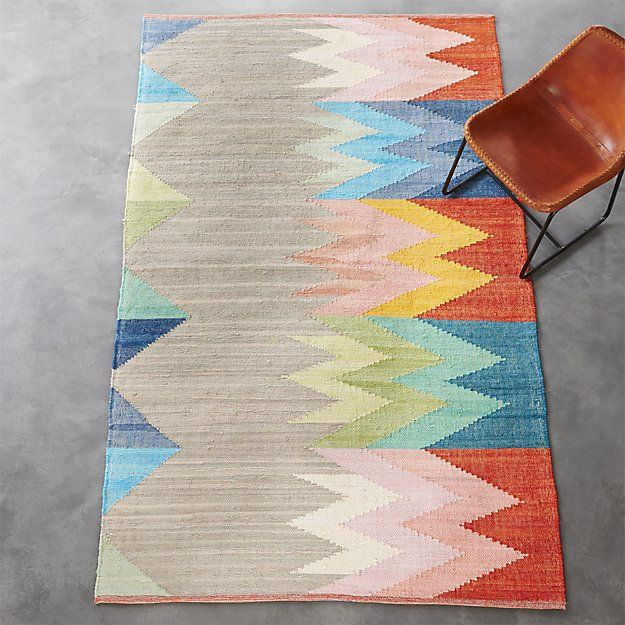 Shop Featherbottom Rug 3 39 X5 39 Peaks Of Color Ebb And Flow In This Vibrant Dhurrie Flatweave Cotton Fabric Remnants Upcycl Rugs Cb2 Rug Rug Shopping