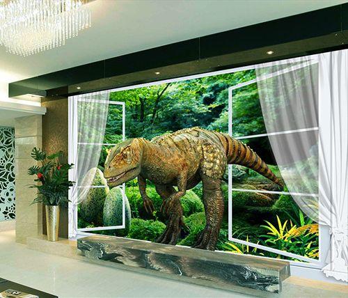 papier peint tapisserie effet 3d sp cial dinosaure l. Black Bedroom Furniture Sets. Home Design Ideas