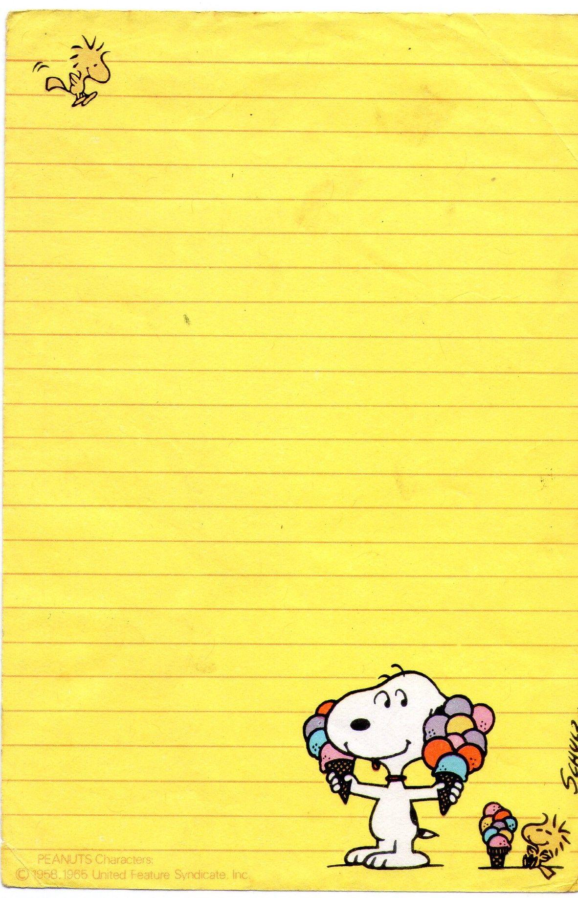Snoopy Stationery Sobres De Papel