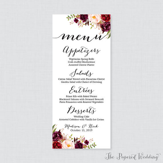 Printable or printed wedding menu cards marsala floral wedding printable or printed wedding menu cards marsala floral wedding menu card rustic pink flower menu cards for wedding in 4 x 925 size 0006 printed mightylinksfo Choice Image