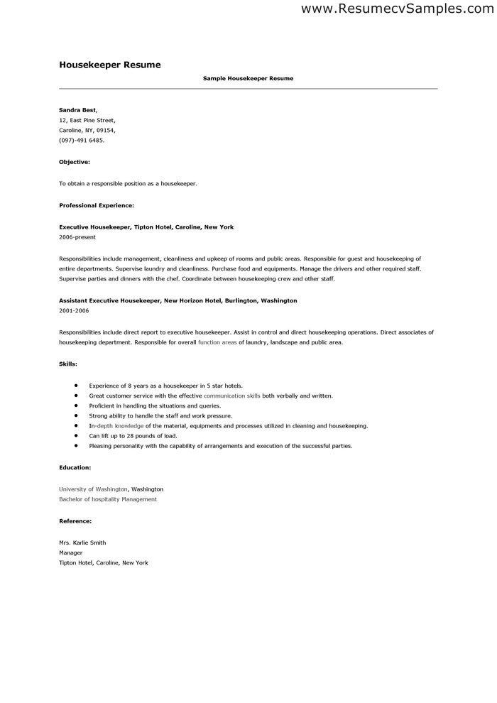 resume for housekeeping position hospital housekeeper example - sample housekeeping resume