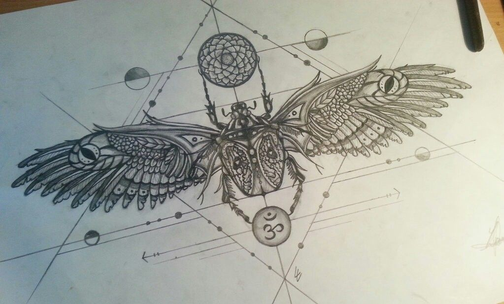 This is a photo of Ridiculous Sacred Geometry Beetle Tattoo Drawing