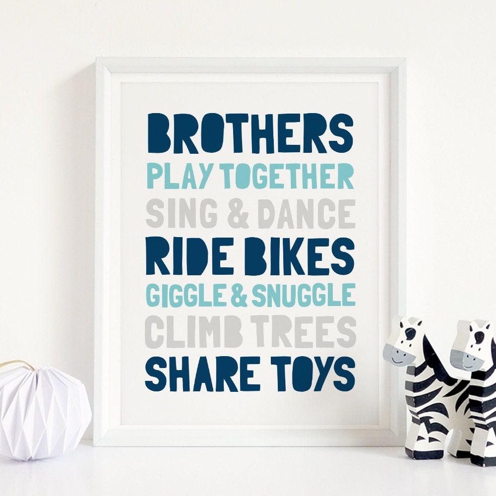 Brothers Play Together Printable Wall Art Boy Nursery Decor Brothers Quotes Boys Playroom Decor Boy Room Wall Decor Instant Download Boy Room Wall Decor Playroom Decor Playroom Decor Boys
