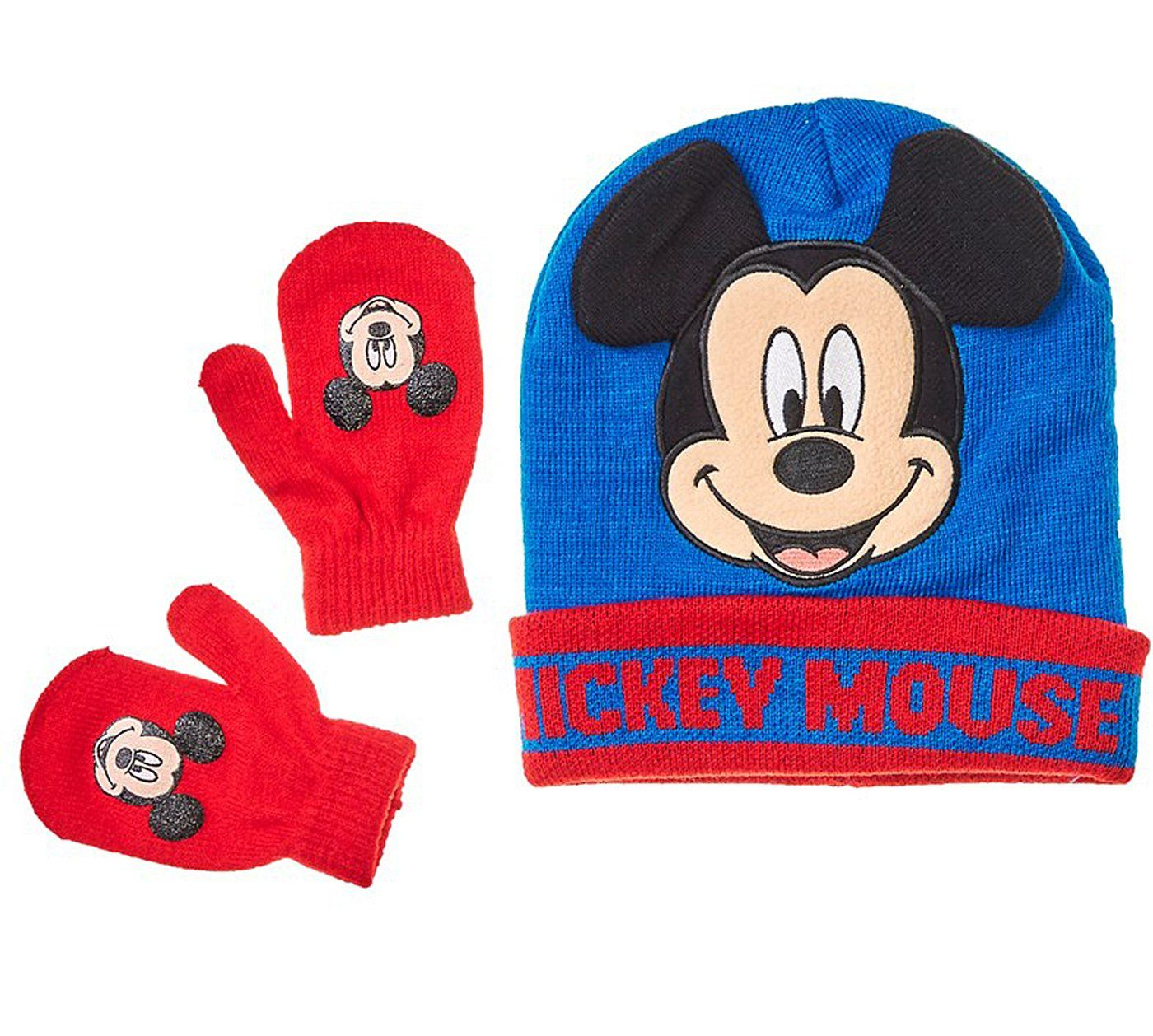 ae9aa38a885 Mickey Mouse Little Toddler Boys Winter Hat   Mitten Set. Set includes winter  hat and mitten set. Royal blue and red hat with Mickey face on the front