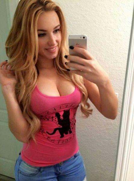 big tit blonde pink bra