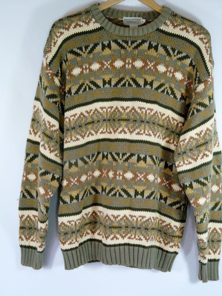 Vtg Banana Republic Grunge Oversize Chunky Knit Slouch Sweater Cotton Size L #BananaRepublic #Crewneck