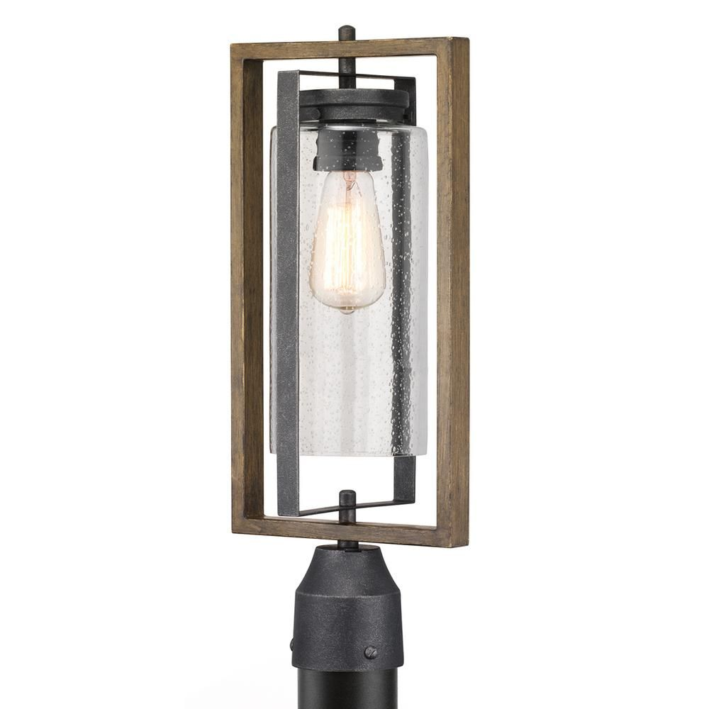 Home Decorators Collection Palermo Grove 1 Light Outdoor Gilded Iron Post Light With Walnut Wood Accents Wood Accents Outdoor Lighting Walnut Wood