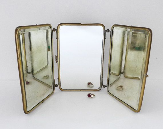 Antique Trifold Mirror Shaving Mirror Travel Mirror Beveled Edges Metal Frame