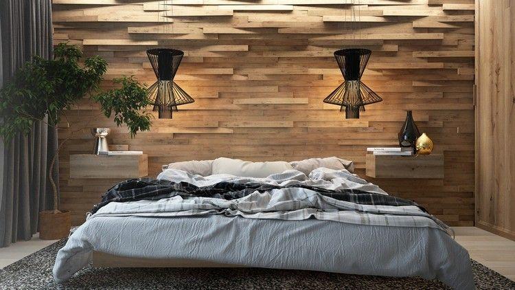 Schlafzimmer Design Mit 3D Wandgestaltung Aus Holzpaneelen