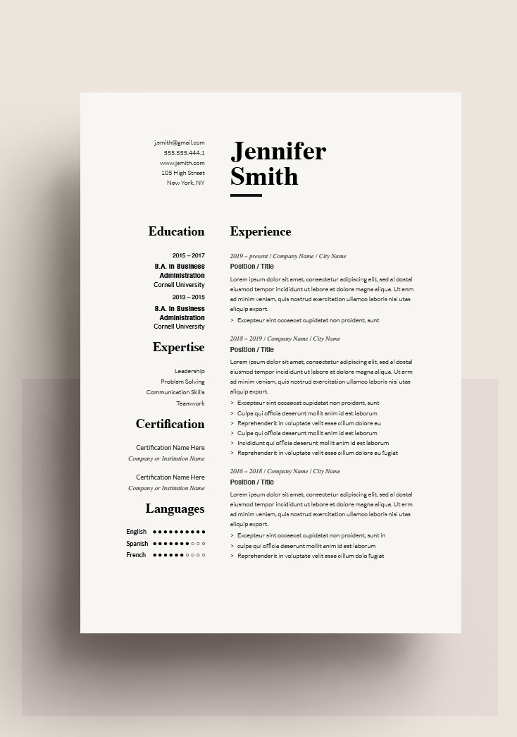 Classic Resume Template 120750 Color Grey Ms Word Resumeway Resume Template Downloadable Resume Template Microsoft Word Resume Template