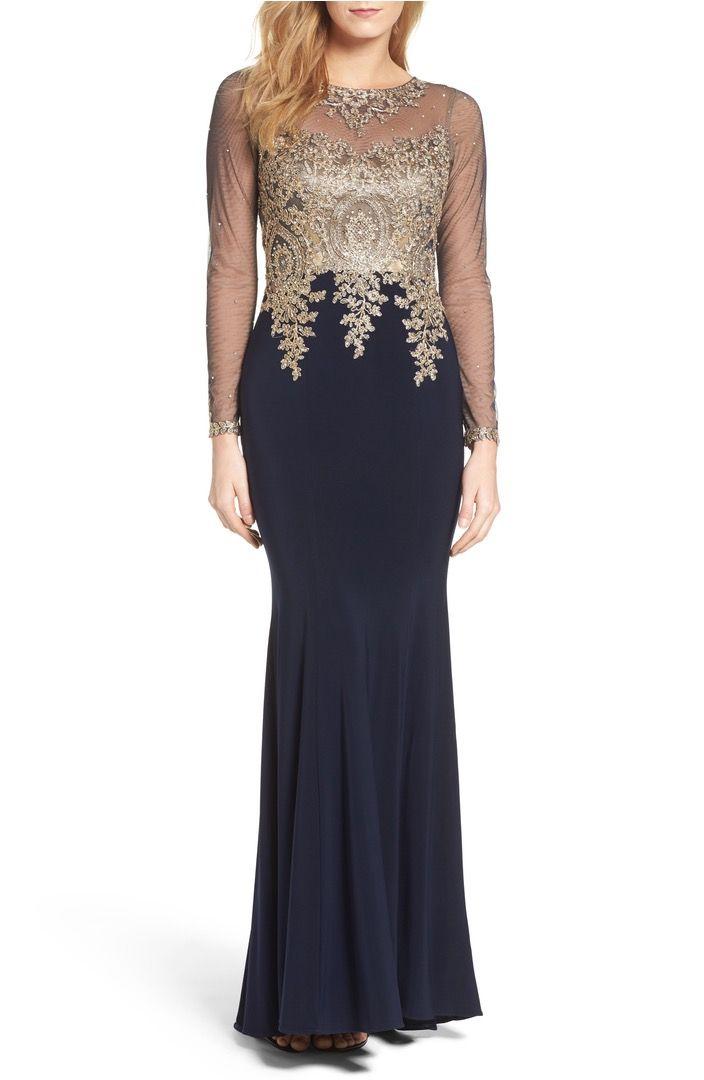 Main Image - Xscape Illusion Sleeve Mermaid Gown | ET social dress ...