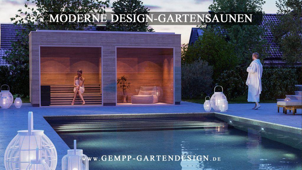 Moderne Design Gartensauna Am Pool. Modernes Gartendesign / Gartengestaltung  Mit Pool. Wellness Im