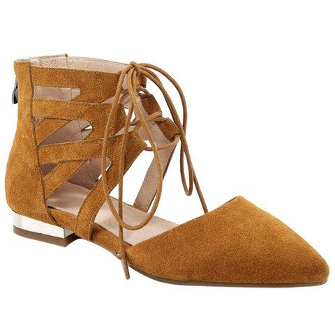 Fashion Hollow Out and Suede Design Flat Shoes For Women