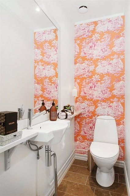Wallpaper In Small Bathroom   Only One Wall + Large Mirror #orange # Wallpaper #smallspaces