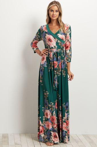 Green Floral Sash Tie Maxi Dress
